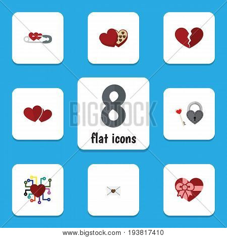 Flat Icon Amour Set Of Key, Shaped Box, Letter And Other Vector Objects. Also Includes Heart, Letter, Broken Elements.