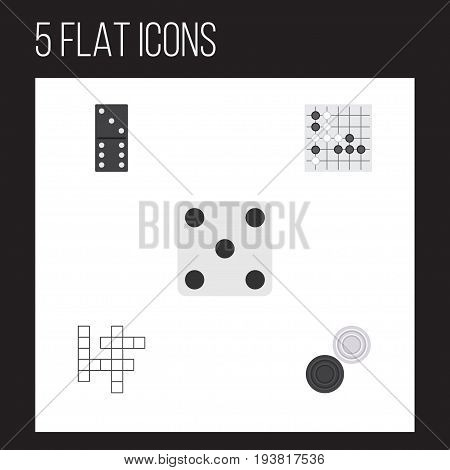 Flat Icon Play Set Of Bones Game, Gomoku, Chequer And Other Vector Objects. Also Includes Bones, Gambling, Chequer Elements.