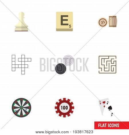 Flat Icon Games Set Of Lottery, Mahjong, Labyrinth And Other Vector Objects. Also Includes Bingo, Lottery, Pawn Elements.