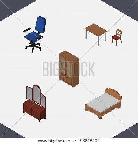 Isometric Furniture Set Of Office, Bedstead, Chair And Other Vector Objects. Also Includes Bed, Furniture, Locker Elements.