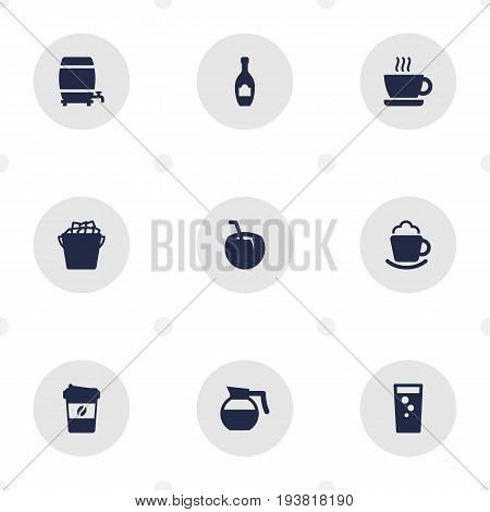 Set Of 9 Drinks Icons Set.Collection Of Fridge, Cask, Cream And Other Elements.