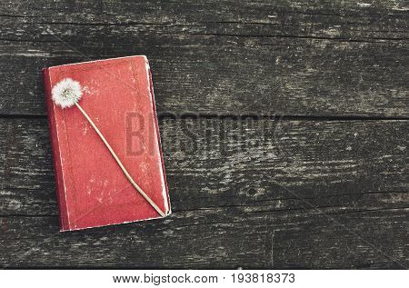 Vintage poetry book on wooden table. Top view
