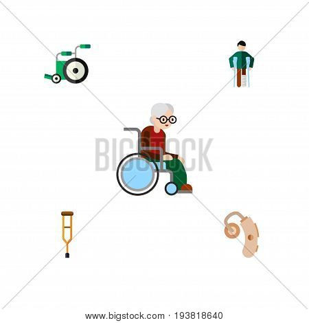 Flat Icon Disabled Set Of Stand, Injured, Equipment Vector Objects. Also Includes Stick, Aid, Wheelchair Elements.