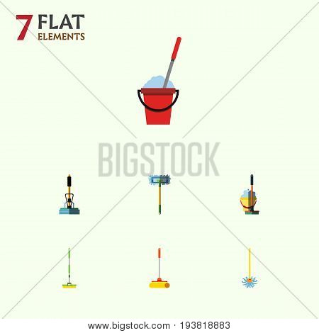 Flat Icon Broomstick Set Of Bucket, Equipment, Mop And Other Vector Objects. Also Includes Cleaning, Sweeper, Cleaner Elements.