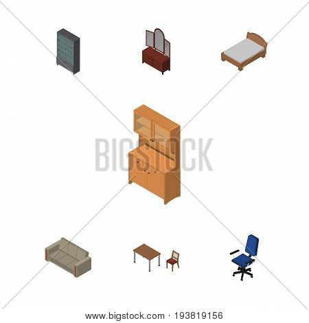 Isometric Furnishing Set Of Bedstead, Chair, Office And Other Vector Objects. Also Includes Closet, Table, Bed Elements.