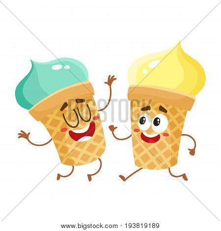 Two funny ice cream cup characters - strawberry and vanilla, cartoon style vector illustration isolated on white background. Couple of cute smiling strawberry and pistachio ice cream cone characters