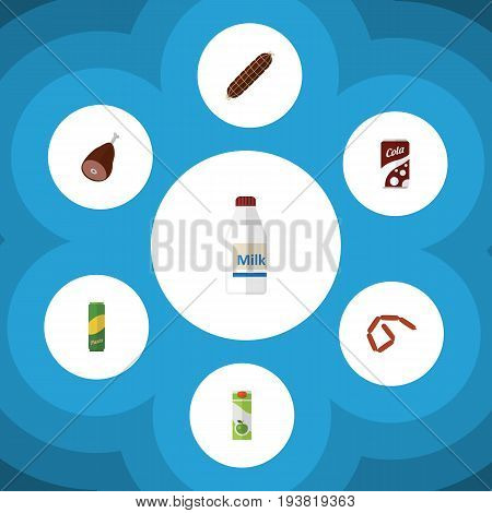 Flat Icon Meal Set Of Bottle, Fizzy Drink, Bratwurst And Other Vector Objects. Also Includes Cola, Macaroni, Apple Elements.