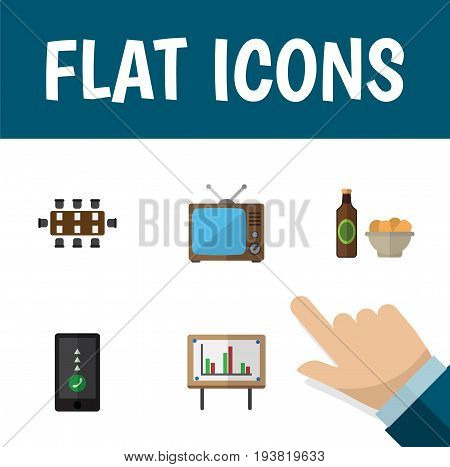 Flat Icon Lifestyle Set Of Cellphone, Boardroom, Whiteboard And Other Vector Objects. Also Includes Chart, Whiteboard, Cellphone Elements.