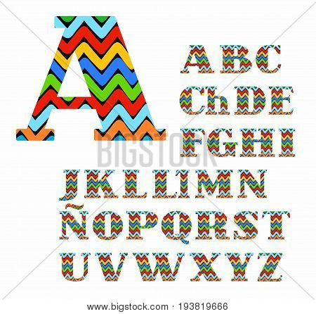 Spanish alphabet, colorful zigzag, vector. Capital letters with serifs. Vector font. The colored, broken lines on a black background.