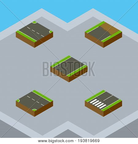 Isometric Road Set Of Rightward, Unfinished, Unilateral And Other Vector Objects. Also Includes Unfinished, Footpassenger, Incomplete Elements.