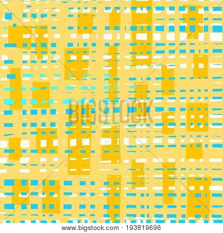 Blue, white squares, yellow background, abstract, seamless, vector. Blue and white dotted uneven lines on a yellow background.