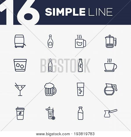 Set Of 16 Drinks Outline Icons Set.Collection Of Hot Drink, Soda, Mojito And Other Elements.