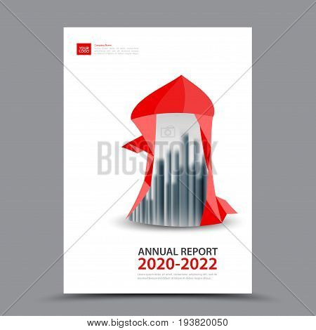 Red Brochure template layout cover design annual report magazine flyer or booklet in A4 magazine advertising poster leaflet business layout polygon vector illustration