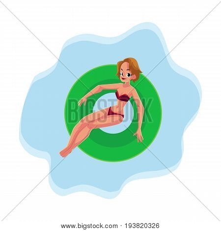 Young pretty girl, woman in bikini swimming on floating inflatable ring on the water surface, top view cartoon vector illustrationd. Young happy woman, girl floating on inflatable ring