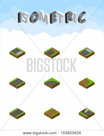 Isometric Way Set Of Bitumen, Footer, Unfinished And Other Vector Objects. Also Includes Construction, Unilateral, Highway Elements.