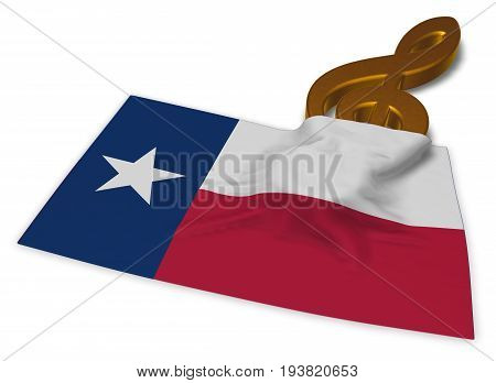 clef symbol and flag of texas - 3d rendering