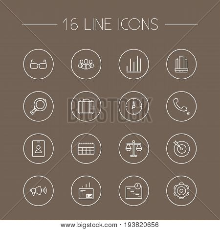 Set Of 16 Trade Outline Icons Set.Collection Of Mail, Glasses, Portfolio And Other Elements.