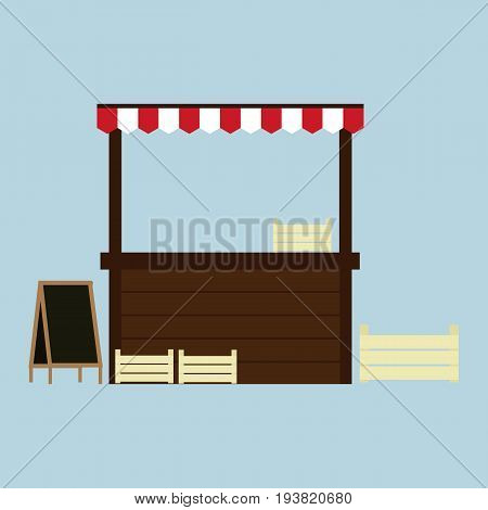 Stand for selling.Wooden market stall.store window with striped awning.