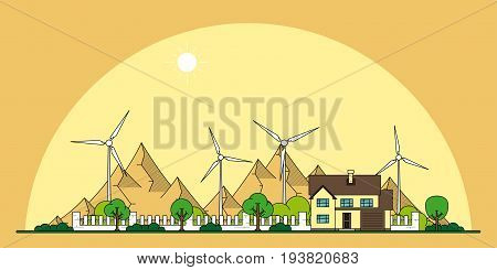 picture of a private house and wind turbines with mountains on background, flat line style concept of eco home, renewable energy, ecology