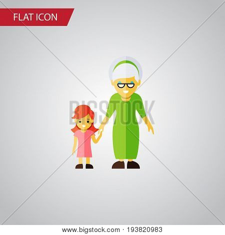Isolated Grandma Flat Icon. Grandchild Vector Element Can Be Used For Grandma, Family, Grandchild Design Concept.