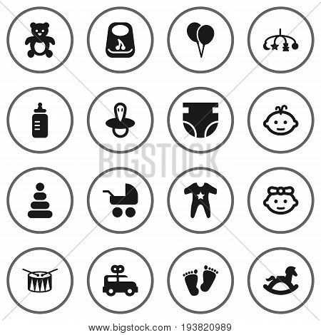 Set Of 16 Kid Icons Set.Collection Of Milk, Teat, Decoration And Other Elements.