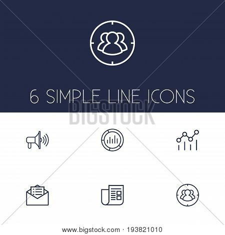 Set Of 6 Trade Outline Icons Set.Collection Of Promotion, Email Promotion, Market And Other Elements.