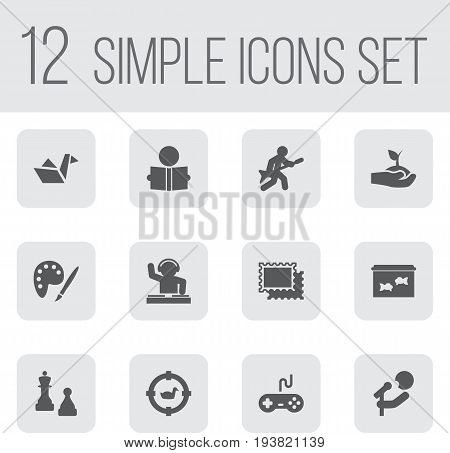 Set Of 12 Hobbie Icons Set.Collection Of Playing, Target, Checkmate And Other Elements.