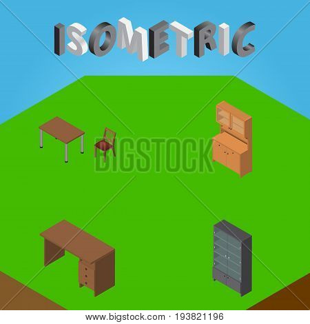 Isometric Design Set Of Cupboard, Table, Chair And Other Vector Objects. Also Includes Wardrobe, Closet, Sideboard Elements.