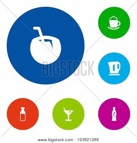 Set Of 6 Beverages Icons Set.Collection Of Electric Teapot, Cocktail, Fizzy Water And Other Elements.