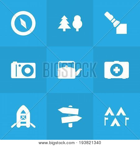 Set Of 9 Outdoor Icons Set.Collection Of Inflatable Raft, Kettle, Magnet Navigatior And Other Elements.