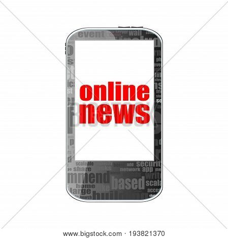 News Concept. Smartphone With Online Mobile News On Display. Mobile Phone Isolated On White