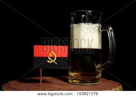 Angolan Flag With Beer Mug Isolated On Black Background