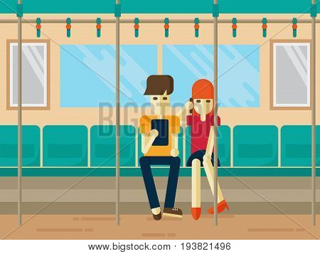 People on subway commute looking at tablet and Talking on the phone. Young office worker pretty woman and teenager. flat style