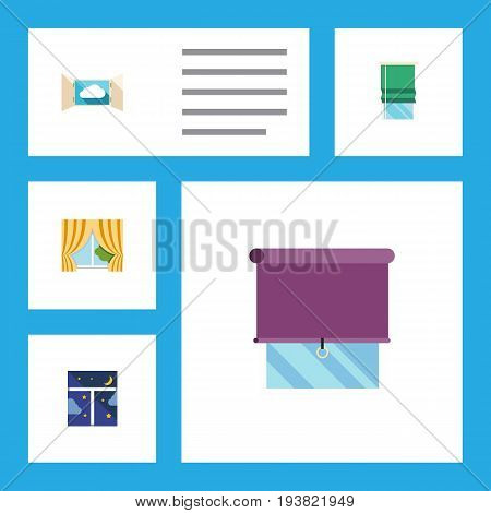 Flat Icon Window Set Of Cloud, Glass Frame, Balcony And Other Vector Objects. Also Includes Glass, Balcony, Curtain Elements.