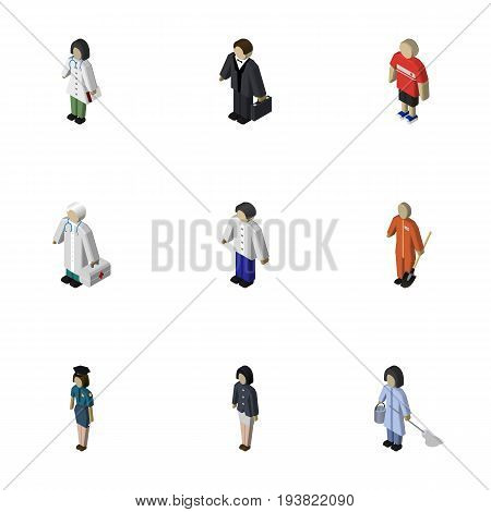 Isometric Person Set Of Doctor, Medic, Investor And Other Vector Objects. Also Includes Medic, Officer, Male Elements.