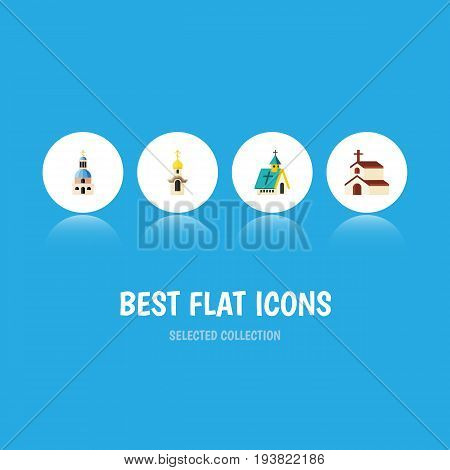 Flat Icon Church Set Of Church, Structure, Architecture And Other Vector Objects. Also Includes Faith, Architecture, Catholic Elements.