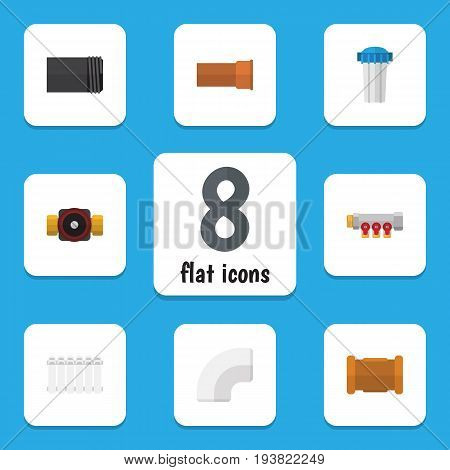 Flat Icon Sanitary Set Of Plastic, Pipework, Tube And Other Vector Objects. Also Includes Water, Pump, Filter Elements.
