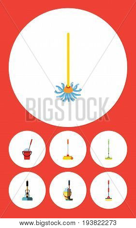 Flat Icon Broomstick Set Of Broom, Cleaner, Equipment And Other Vector Objects. Also Includes Bucket, Sweep, Broom Elements.