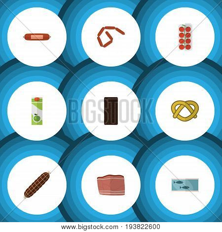 Flat Icon Eating Set Of Confection, Cookie, Beef And Other Vector Objects. Also Includes Apple, Kielbasa, Bar Elements.