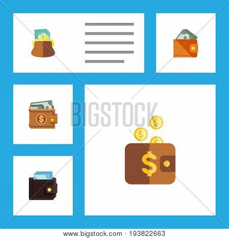Flat Icon Billfold Set Of Payment, Money, Wallet And Other Vector Objects. Also Includes Saving, Payment, Purse Elements.