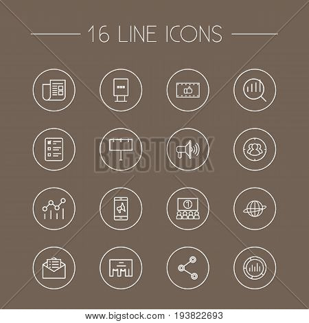Set Of 16 Advertising Outline Icons Set.Collection Of Audience, Ad Banner, Research And Other Elements.
