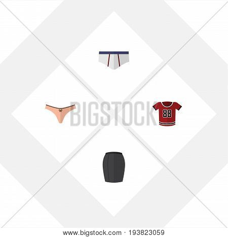 Flat Icon Garment Set Of Stylish Apparel, Lingerie, T-Shirt And Other Vector Objects. Also Includes Blouse, Shirt, Briefs Elements.