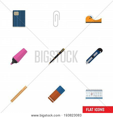 Flat Icon Equipment Set Of Copybook, Rubber, Marker And Other Vector Objects. Also Includes Almanac, Pen, Rubber Elements.