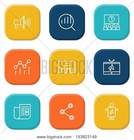 Set Of 9 Commercial Outline Icons Set.Collection Of Research, Tv, Audience And Other Elements.