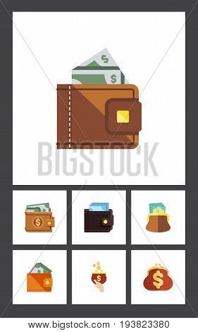 Flat Icon Billfold Set Of Billfold, Saving, Wallet And Other Vector Objects. Also Includes Pouch, Wallet, Payment Elements.