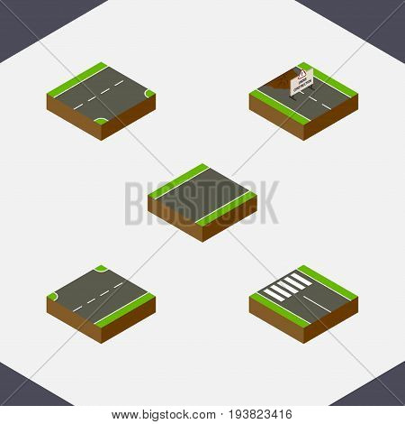 Isometric Road Set Of Repairs, Down, Unilateral And Other Vector Objects. Also Includes Under, Road, Construction Elements.