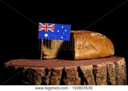 Australian Flag On A Stump With Bread Isolated