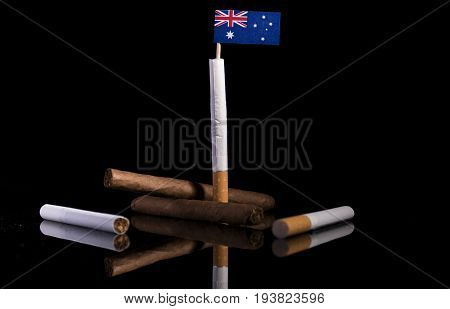 Australian Flag With Cigarettes And Cigars. Tobacco Industry Concept.