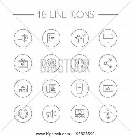 Set Of 16 Commercial Outline Icons Set.Collection Of Promotion, Newspaper, Social Media Ads And Other Elements.