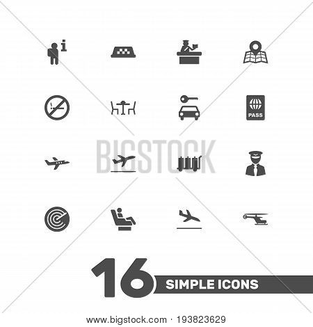 Set Of 16 Aircraft Icons Set.Collection Of Passport, Chopper, Aviator And Other Elements.